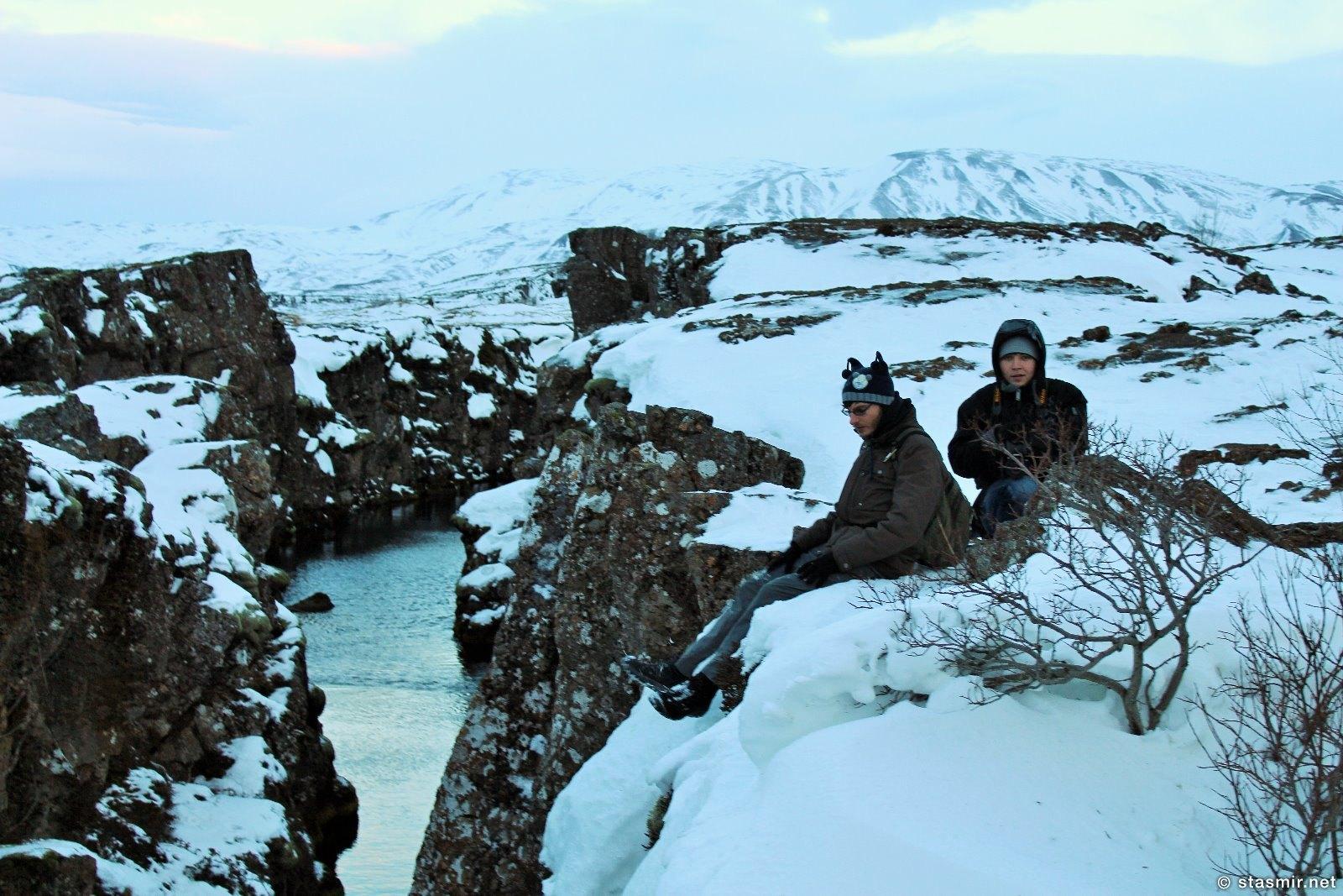 Денежный разлом Пенингагйау в Национальном парке Тингведлир зимою, фото Стасмир, photo Stasmir