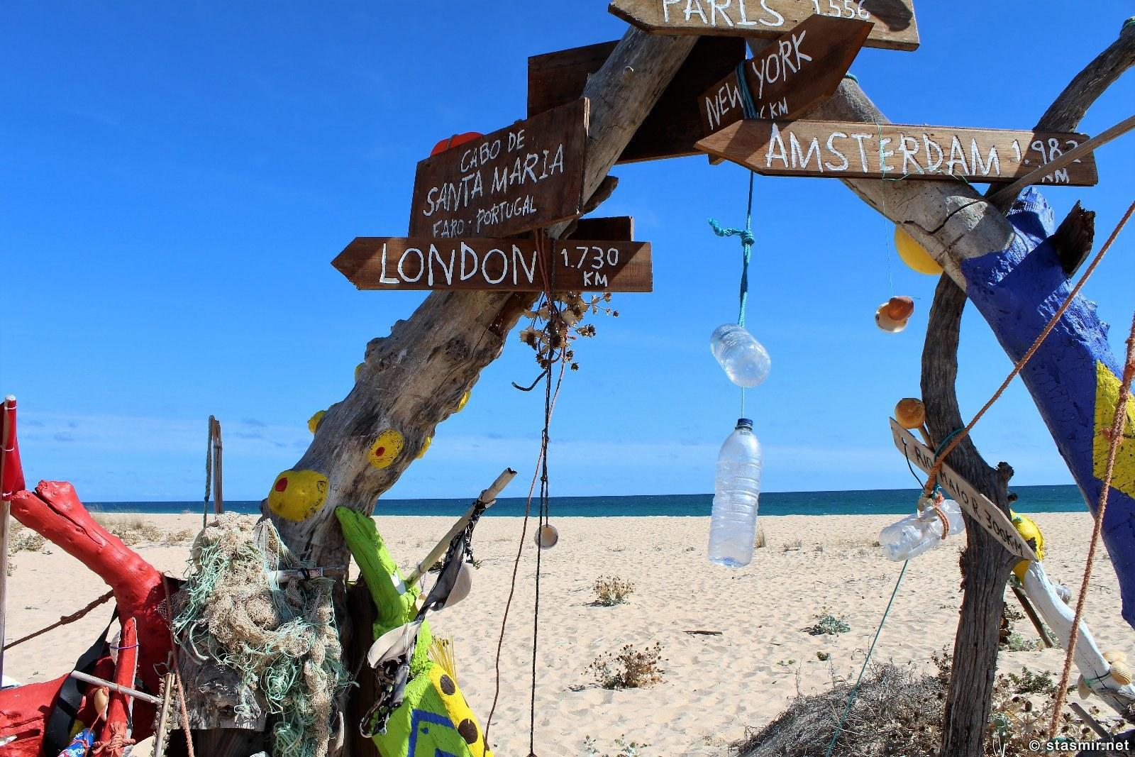Указатели до европейских столиц на пляже на необитаемом острое на Риу Формоза в Алгарве, Португалия, фото Стасмир, photo Stasmir