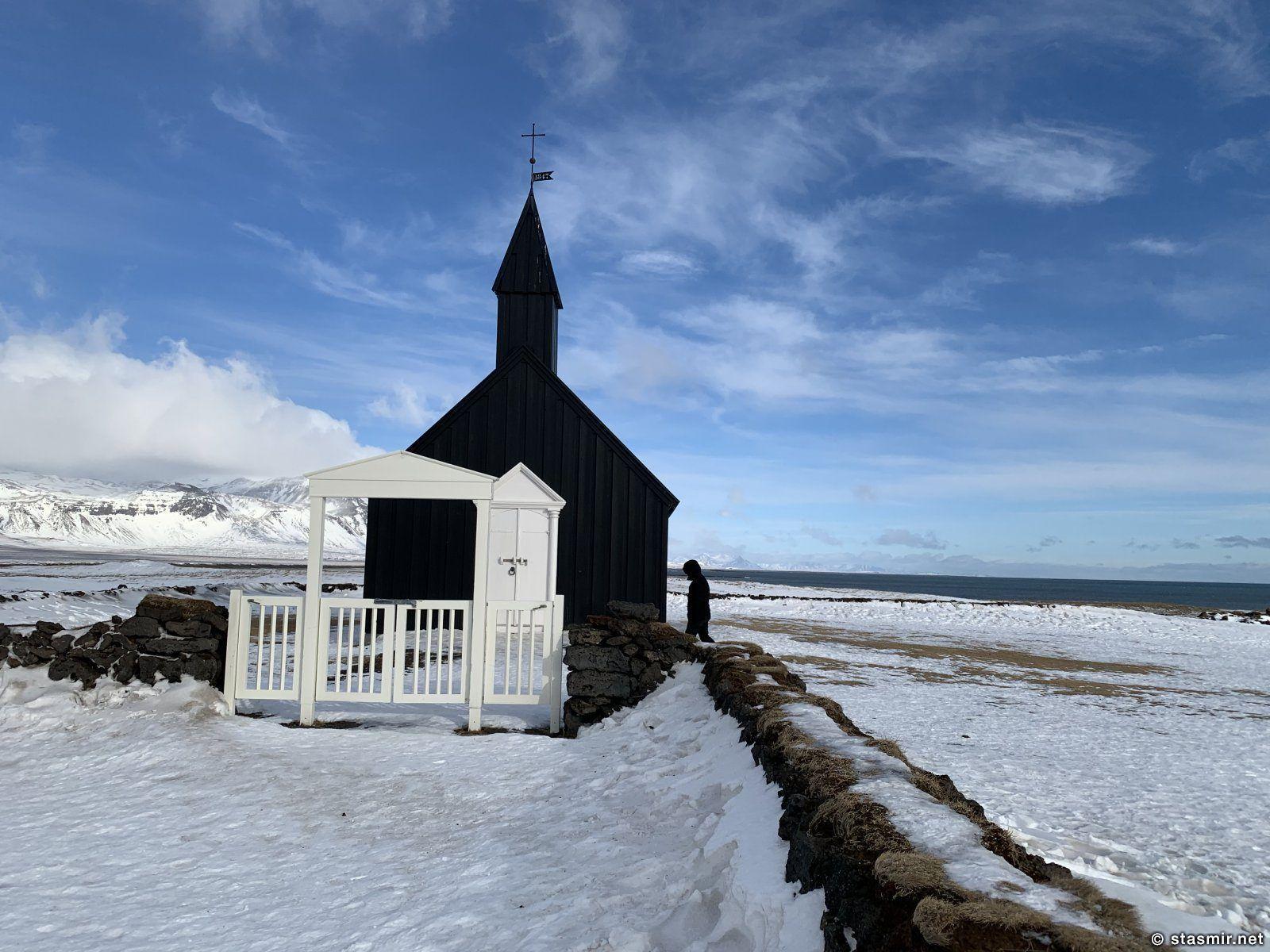 церковь в Будир зимой, Западная Исландия, полуостров Снайфедльснес, фото Стасмир, photo Stasmir