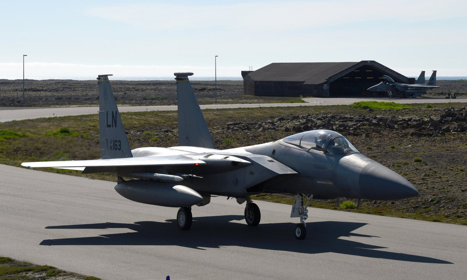 An F-15C Eagle assigned to the 493rd Expeditionary Fighter Squadron taxis down the flightline at Keflavik Air Base, Iceland, Aug. 1, 2018, in support of NATO's Icelandic Air Surveillance mission. NATO allies deploy aircraft and personnel to support this critical mission three times a year, with the U.S. responsible for at least one rotation annually. (U.S. Air Force photo/Staff Sgt. Alex Fox Echols III)
