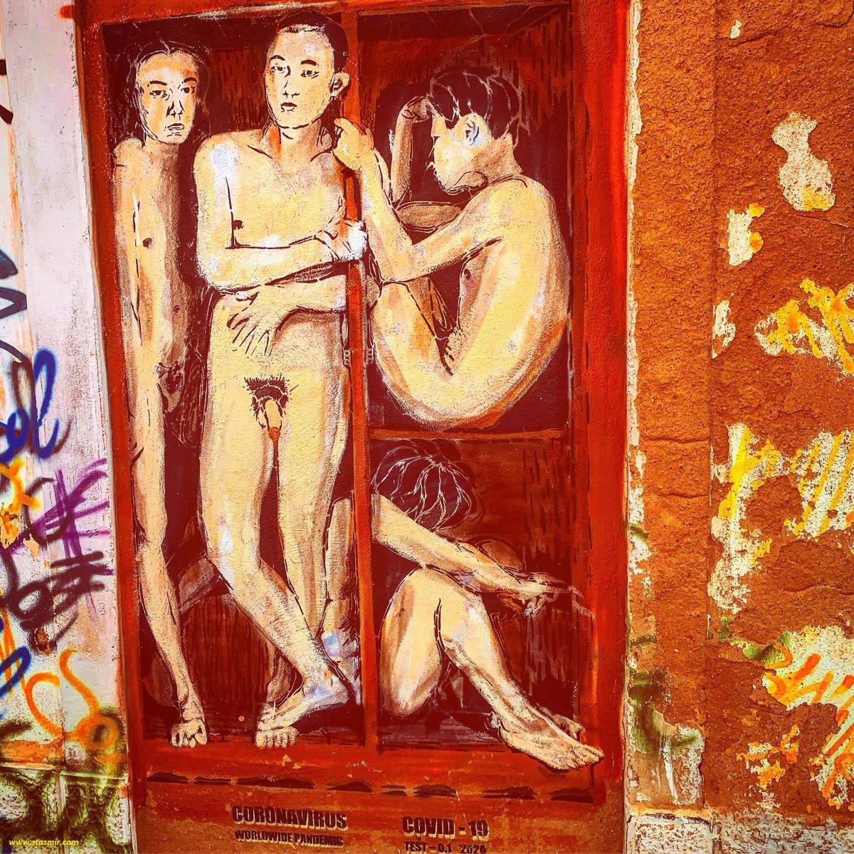 covid - уличная живопись в Лагуше, фото Стасмир, photo Stasmir