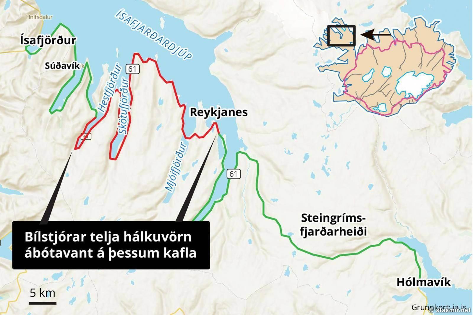 Карта местности: красным - обледенелый участок. Фото из Mbl.is