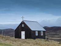 Одинокая церковь на плато Крисувик (Krísuvík) в Южной Исландии, 1857