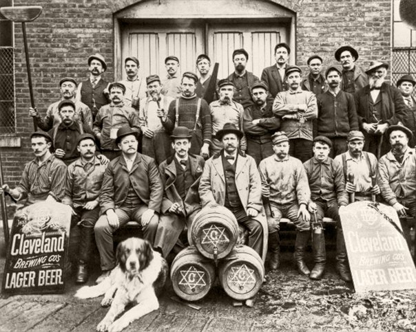 Workers at the Cleveland Brewing Co. pose for a staff photo in 1887