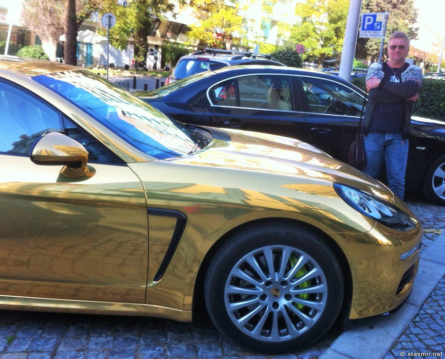 Золотой Порш в Фару, Алгарве, Porsche Panamera, Photo Stasmir, Фото Стасмир