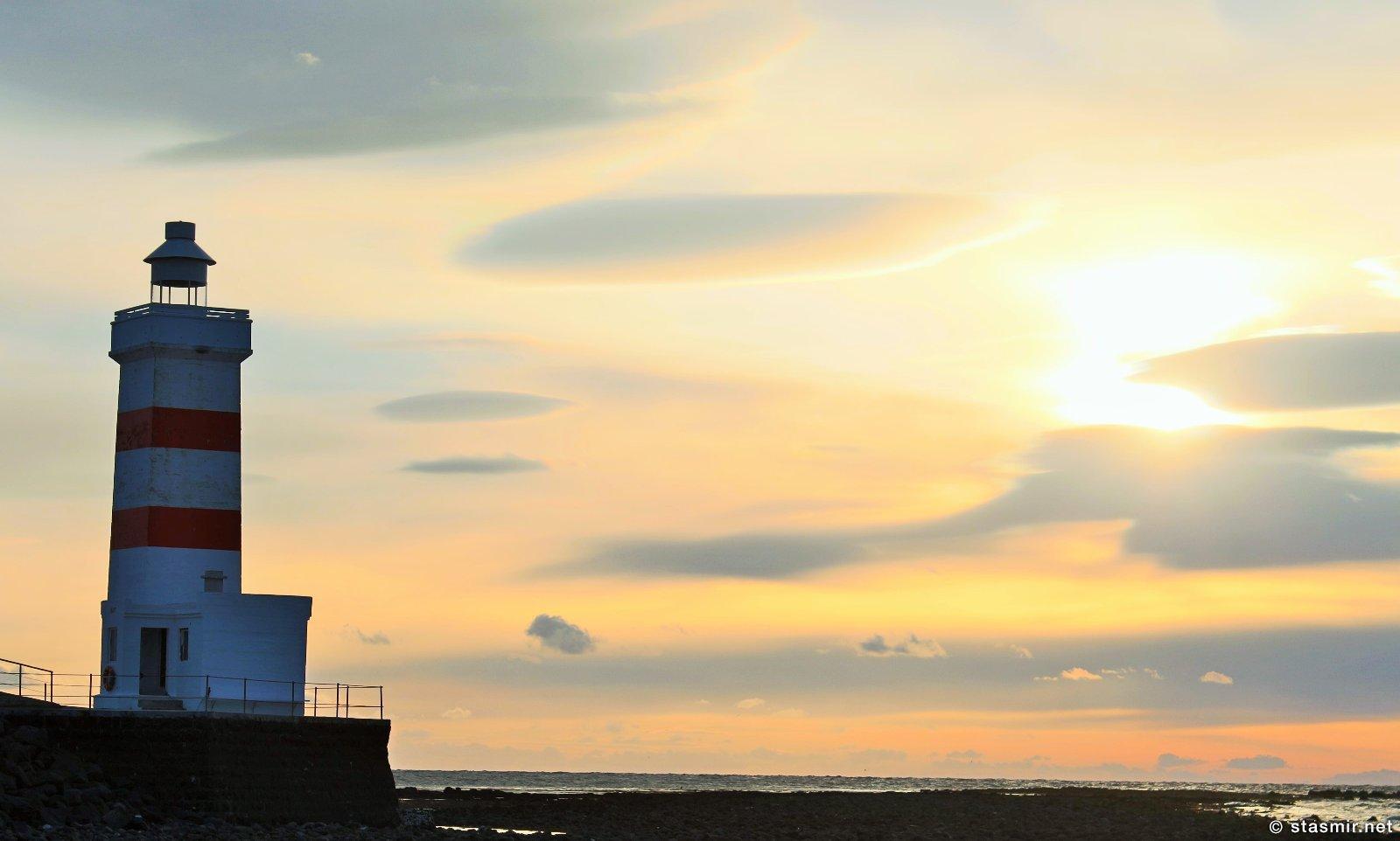 Garður, ноктюрн-закат на полуострове Рейкьянес у маяка Гардюр, Garður, Reykjanes, photo stasmir, Фото Стасмир