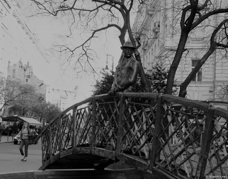 Мост в Будапеште в Венгрии: человек в шляпе и плаще по определению шпион). Фото Стасмир. Photo Stasmir
