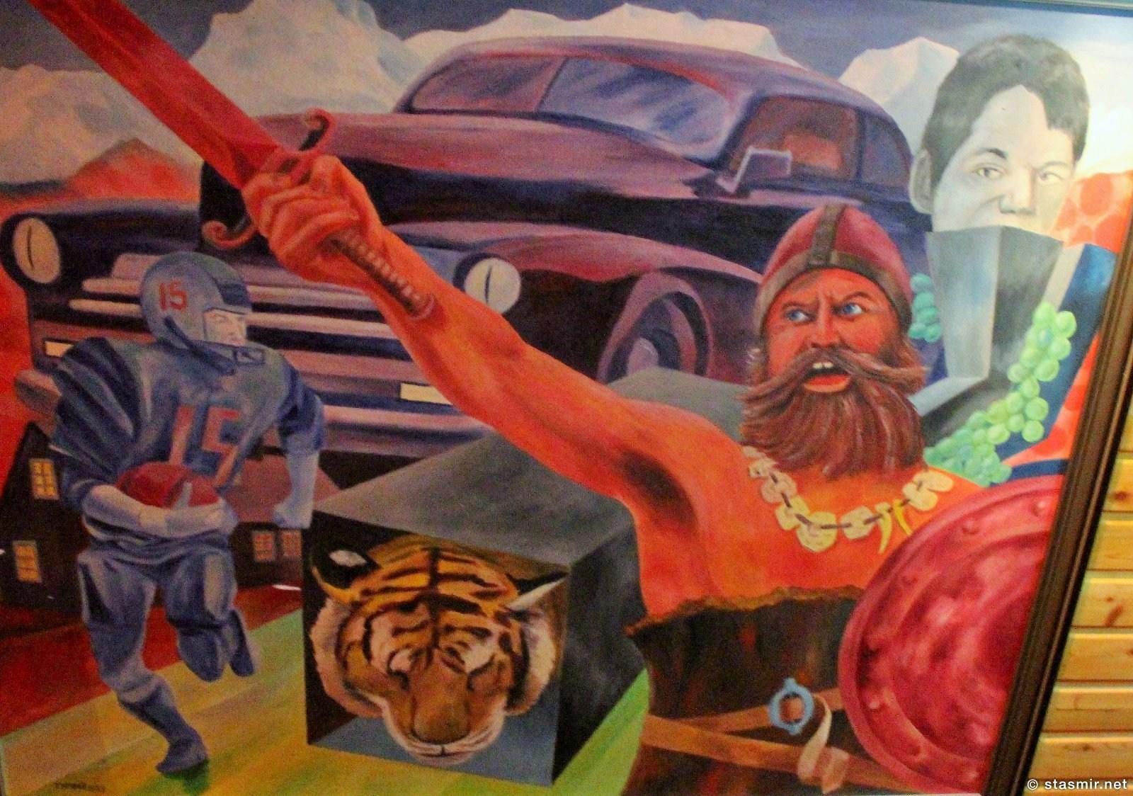 полотно с изображением викингов неизвестного автора в ресторане Fjörukráin, Hotel Viking, photo Stasmir, фото Стасмир