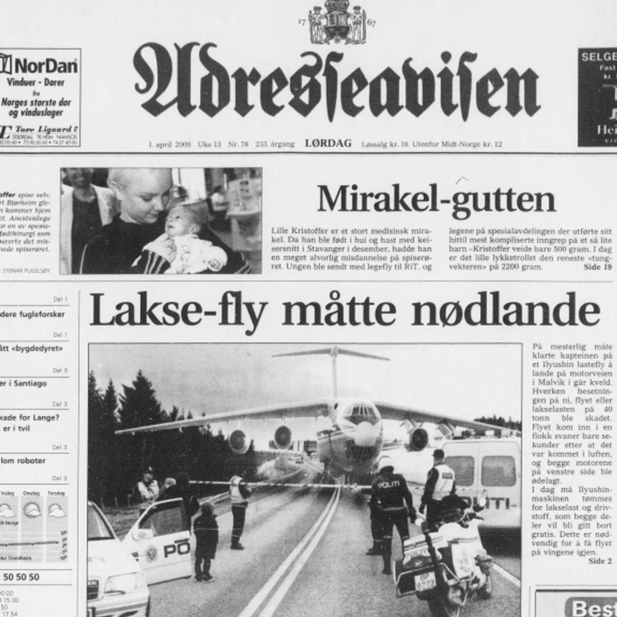 Шутка про ИЛ-86 с лаксом из норвежской газеты Adresseavisen.