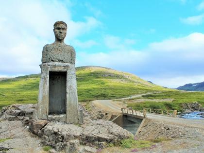 Скульптурный портрет Gísli Gíslason frá Hvammi - пример исландского практического юмора, фото Стасмир, Photo Stasmi