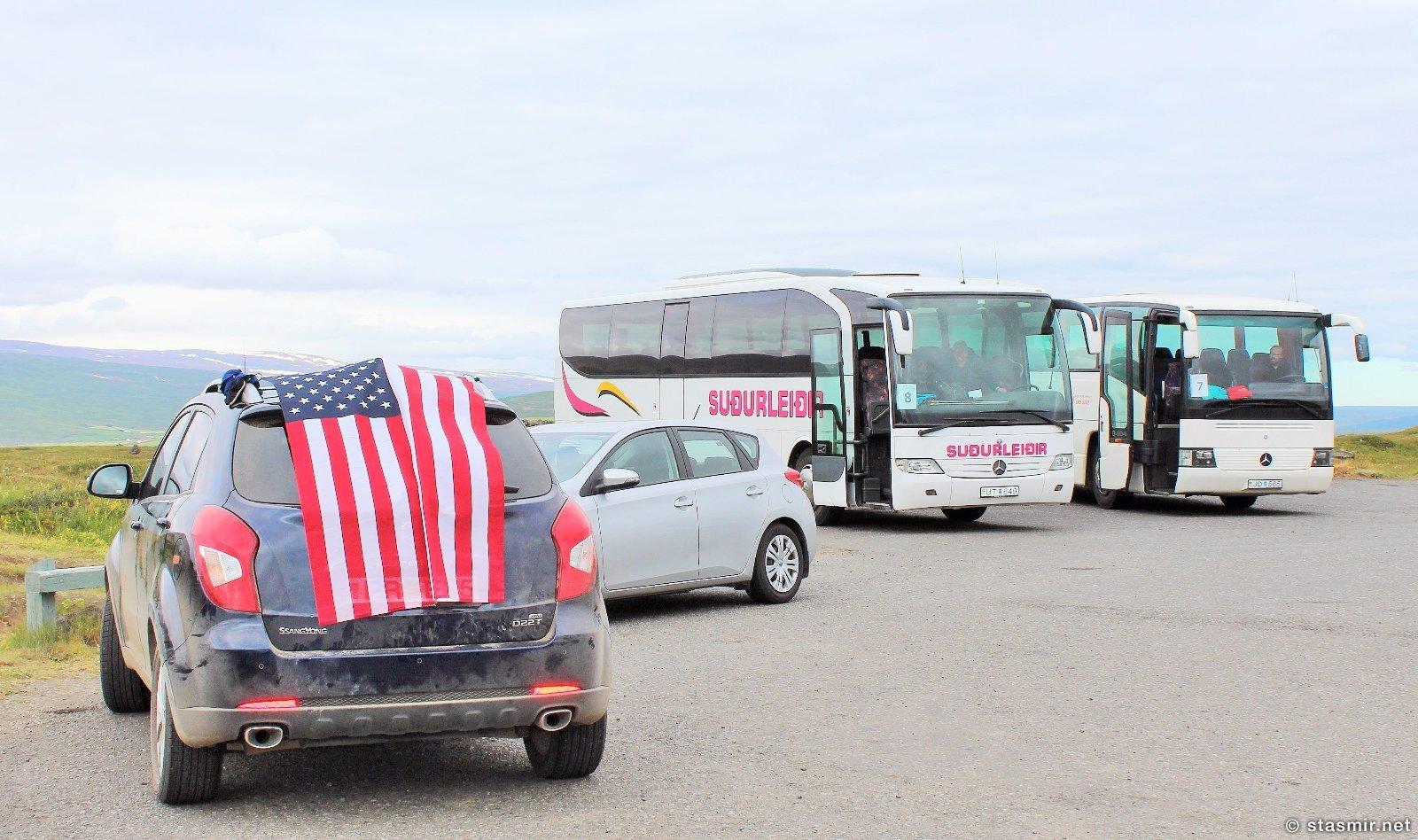 американский флаг на машине, Исландия, фото стасмир, photo Stasmir