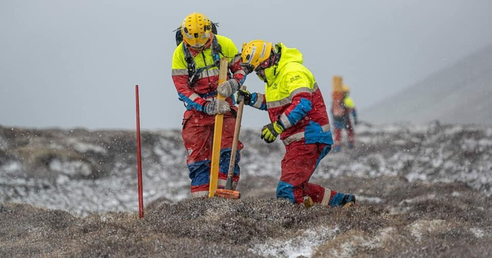 Rescue Team Thorbjorn @ Work Marking a Trail to The Volcano. Photo From Thorbjorn's Facebook. Thank you Guys!