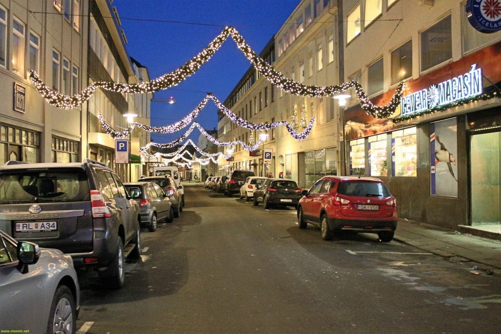 Улицы Рейкьявике в праздничном убранстве, фото Стасмир, photo Stasmir