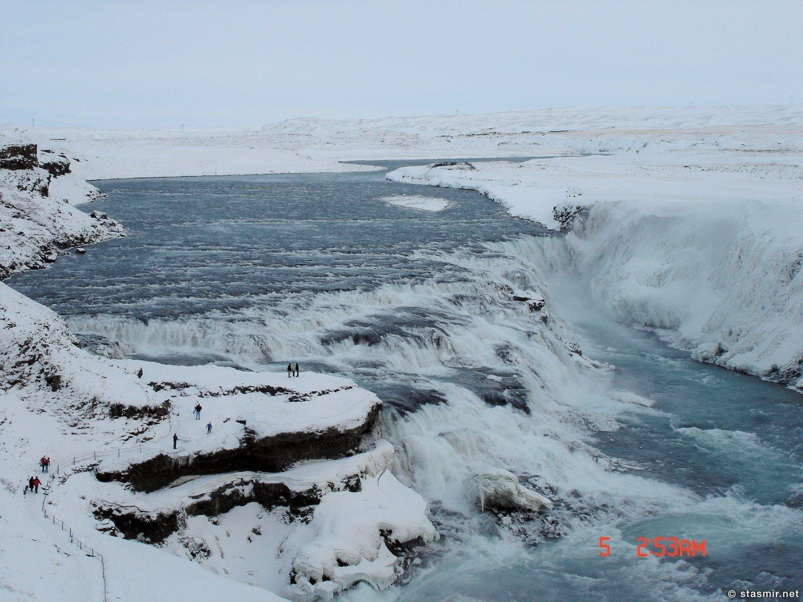 Золотой водопад зимой, Гюдльфосс во льдах, фото Стасмир, Photo Stasmir
