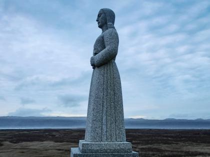 Скульптура Landsýn рядом со Страндкиркьей в Южной Исландии, фото Стасмир, photo Stasmir
