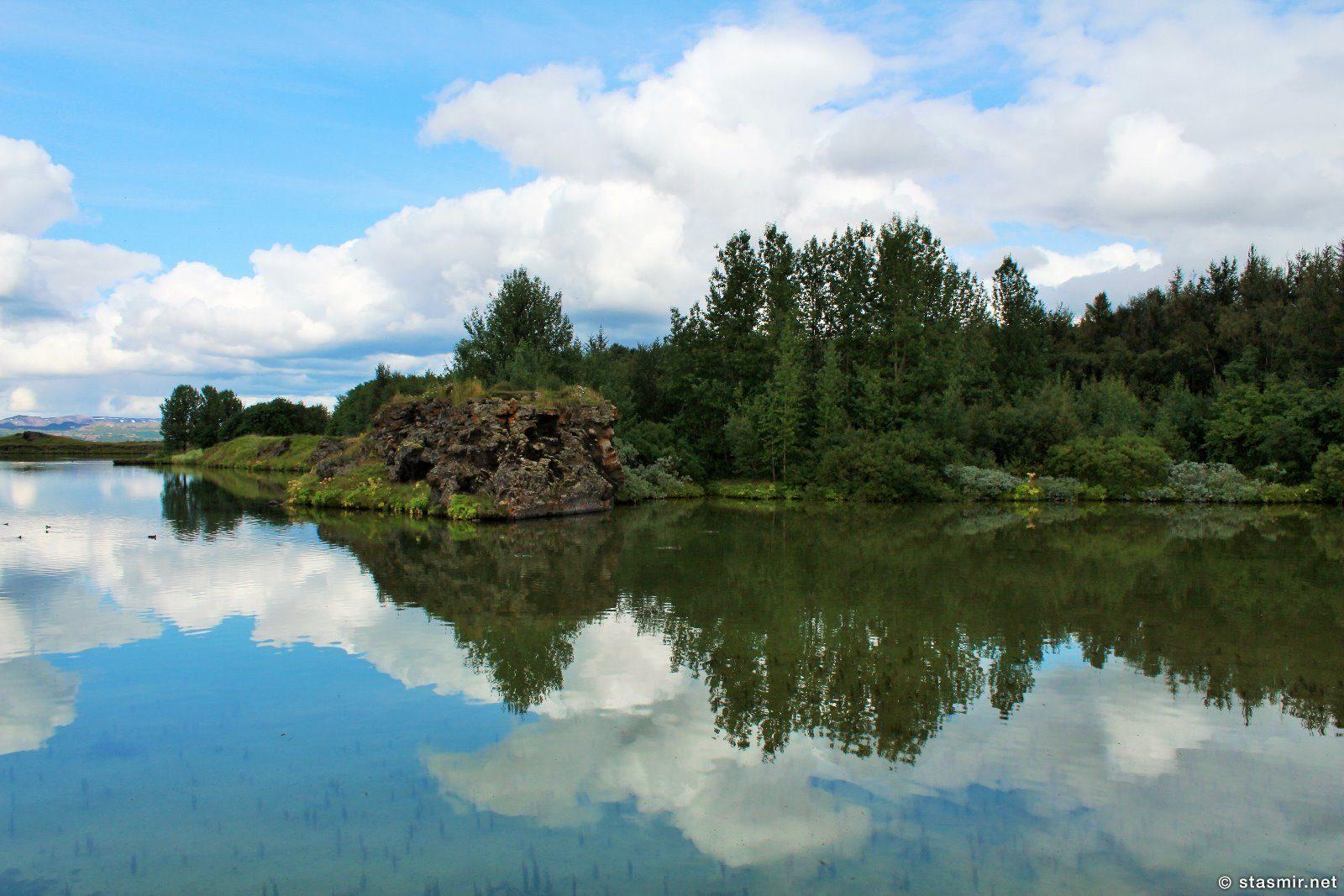 озеро Мюватн, Северная Исландия, Миватн, Брильянтовое кольцо Исландии, Хёфди, фото Стасмир, Photo Stasmir