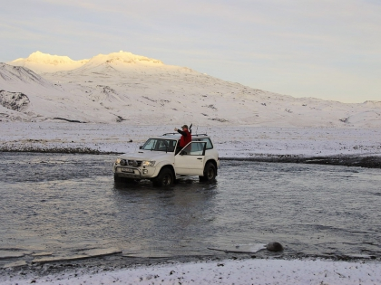 Ниссан Патруль форсирует реку, Landmannalaugar, Ландманналёйгар, Лундаманналаугар, джип-сафари, Исландия, фото Стасмир, photo Stasmir,
