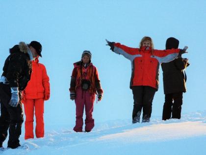 счастливые туристы по пути на Ландманналаугар, зимнее джип-сафари, фото Стасмир, photo Stasmir