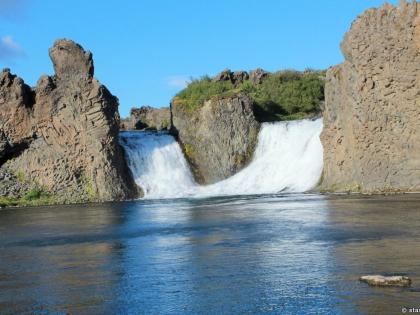 помогающий водопад в Исландии,  Landmannalaugar, Ландманналёйгар, Лундаманналаугар, джип-сафари, Исландия, фото Стасмир, photo Stasmir, Хьяулпарфосс, Hjálparfoss