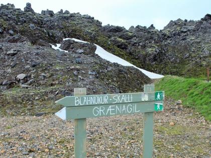 Указатель на Голубой Пик и Зеленое Расщелье на Ландманналёйгар, Исландия, фото Стасмир, photo Stasmir