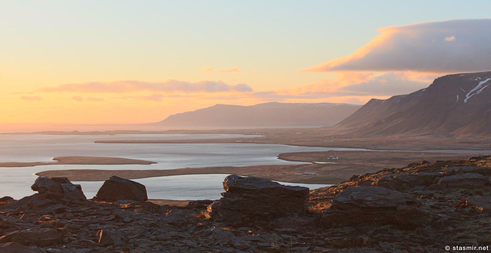 Гардюр, ноктюрн-закат на полуострове Рейкьянес у маяка Гардюр, Garður, Reykjanes, photo stasmir, Фото Стасмир