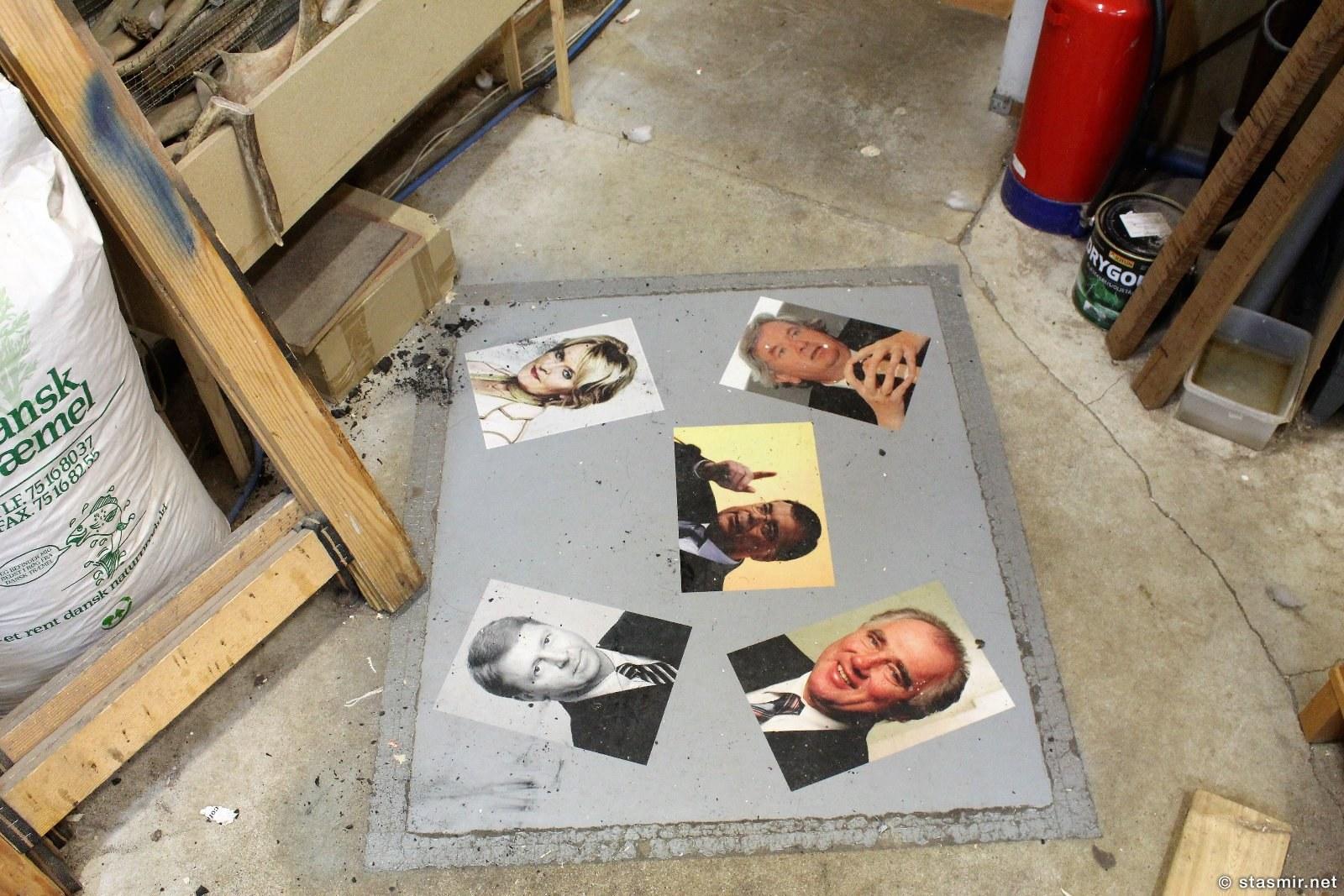 коврик с ликами политиков в галерее ножей Паутля Кристйаунссона в Мосфельсбаере, фото Стасмир, photo Stasmir