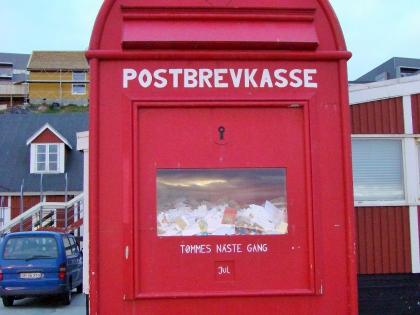 почтовый ящик для писем Деду Морозу в Нууку, столице Гренландии, белые ночи, фото Стасмир, photo Stasmir, белые ночи