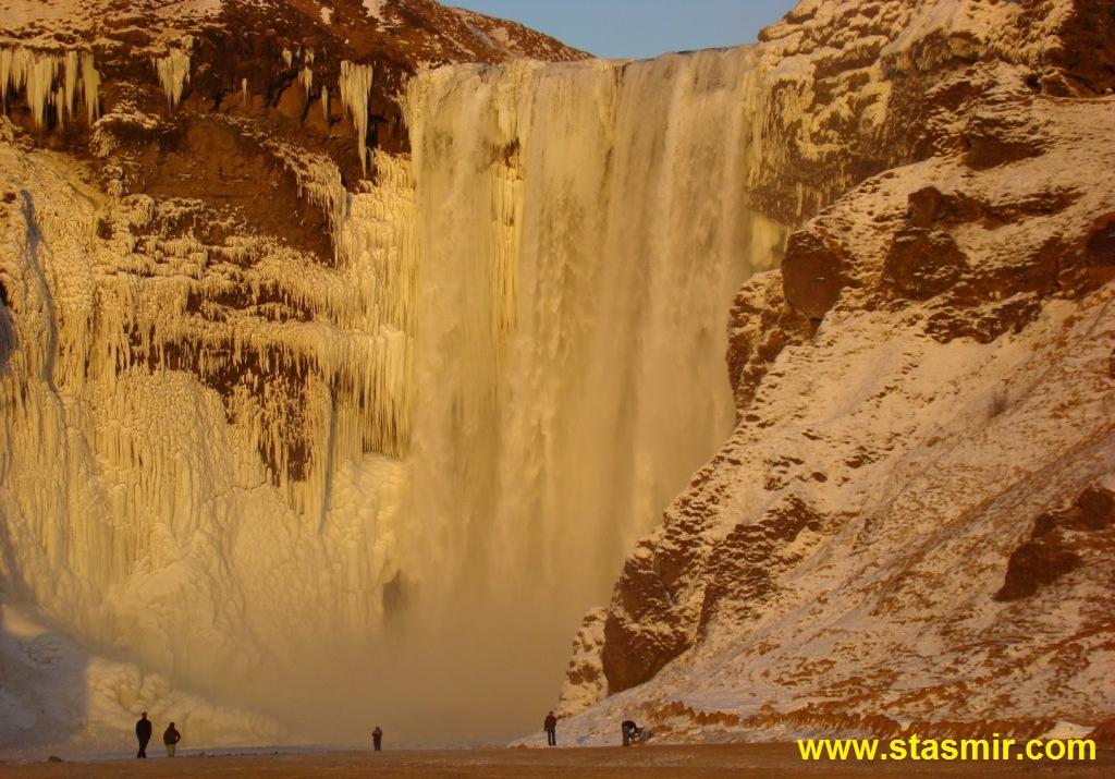 Skógafoss, Скоугафосс, Южный Берег, Исландия, замерзший водопад, фото Стасмир, photo Stasmir