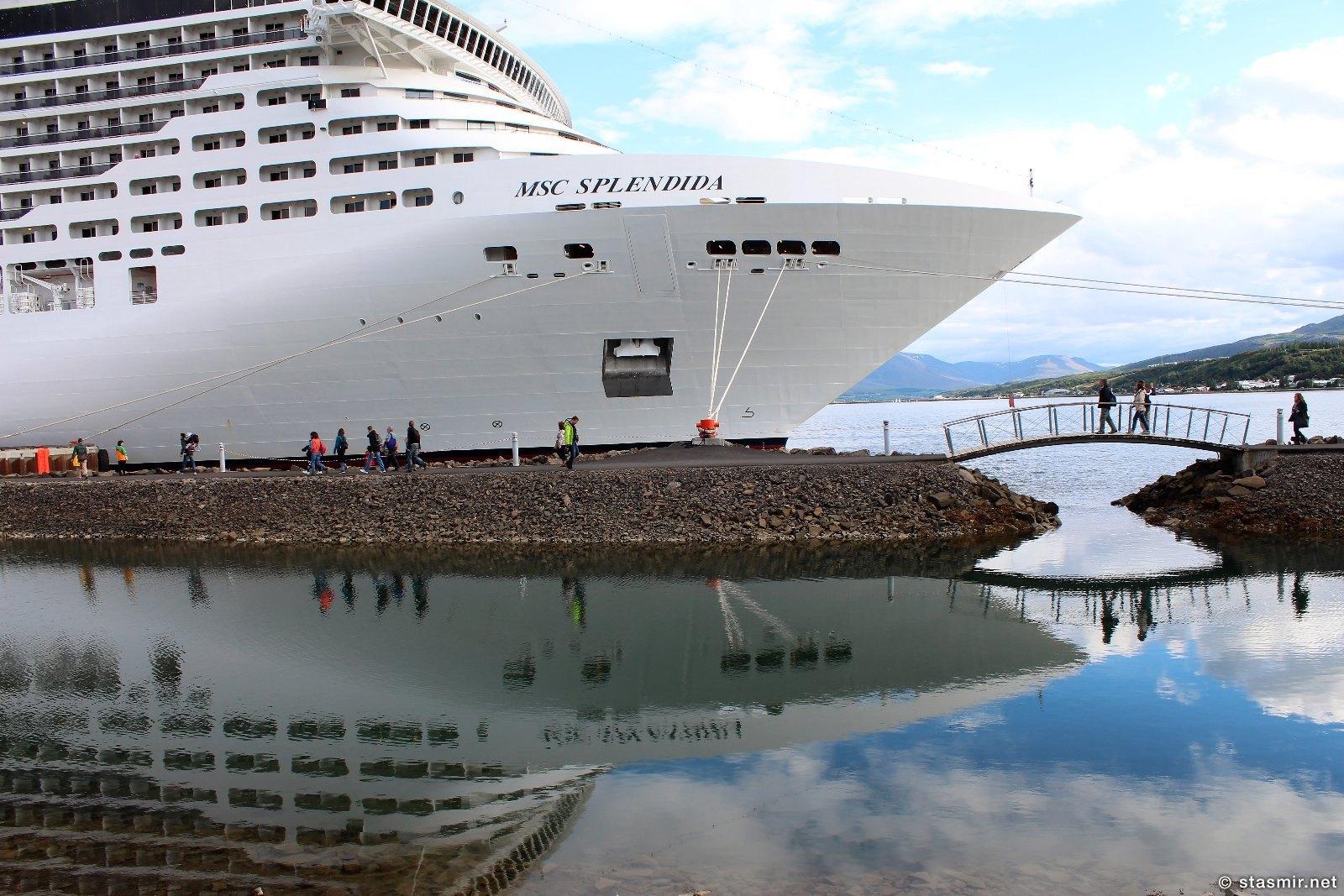 Пароход Splendia в порту Акюрейри в Северной Исландии, фото Стасмир, photo Stasmir