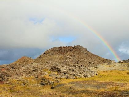 Радуга поднимается из под лавы на полуострове Рейкьянес, фото Стасмир, photo Stasmir