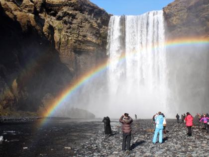 Водопад Скоугафосс в радугах в Южной Исландии, фото Стасмир, photo Stasmir, stasmirnet, stasmircom