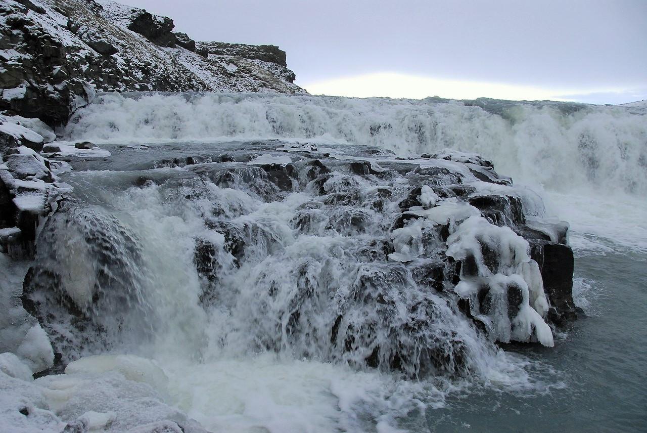Зимняя Исландия: водопад Гюдльфосс, замечательное фото моих туристов