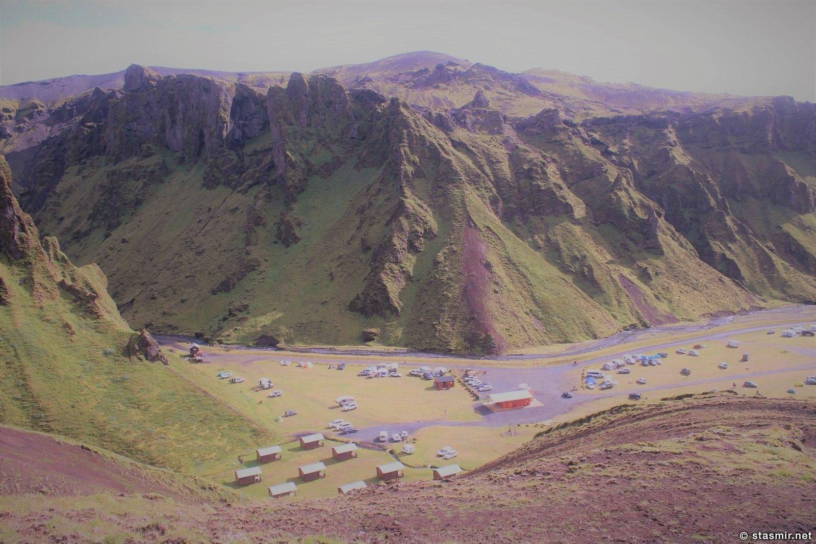 кемпинг, вид от начала пути, Такгиль, Þakgíl, Тагил, фото Стасмир, photo Stasmir