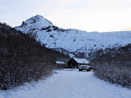 Туристическая база Тоурсмёрк, березовый лес в Исландии зимой, Торсморк, Þórsmörk, фото Стасмир, photo Stasmir
