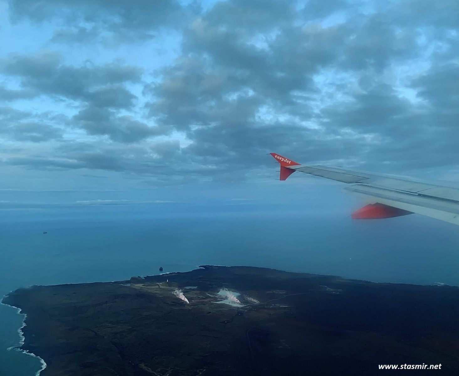 вид на полуостров Рейкьянес из самолета, фото Стасмир, photo Stasmir