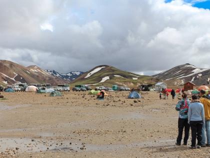 Landmannalaugar, Ландманналёйгар, Ландманналаугар, фото Стасмир, Photo Stasmir, палатки на голых камнях: туристическая база