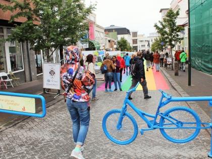 Главаня улица Рейкьявика Лёйгавегюр перекрыта для машин летом, фото Стасмир, photo Stasmir