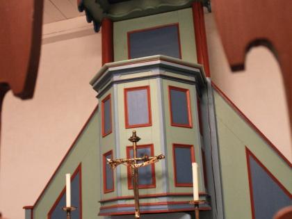 кельтский знак трикетра внутри церкви Видейаркирха, Viðeyjarkirkja, рядом с башней Imagine Peace Tower на острове Viðey рядом в Рекьявиком, Фото Стасмир, photo Stasmir