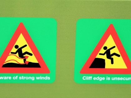 знаки в Исландии, осторожно скала, фото Стасмир, photo Stasmir