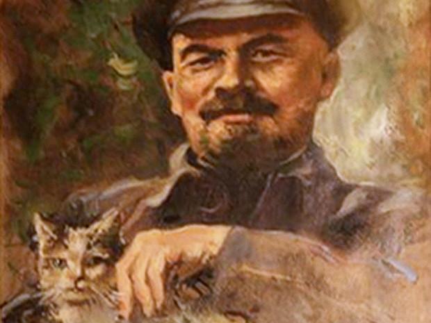 Ленин с кошкой, музей кошек, Амстердам, Нидерланды